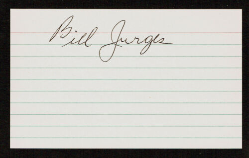 Bill Jurges d. 1997 signed autograph Baseball 3x5 Index Card 301024