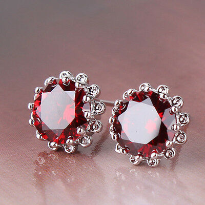 Amzing Engagement garnet 18K White gold filled Luxury wedding stud earring