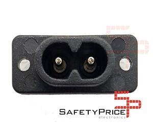 2x-Conector-Corriente-AC-IEC-C8-Chasis-Macho-2-5A-250V-2-pines-Negro-SP
