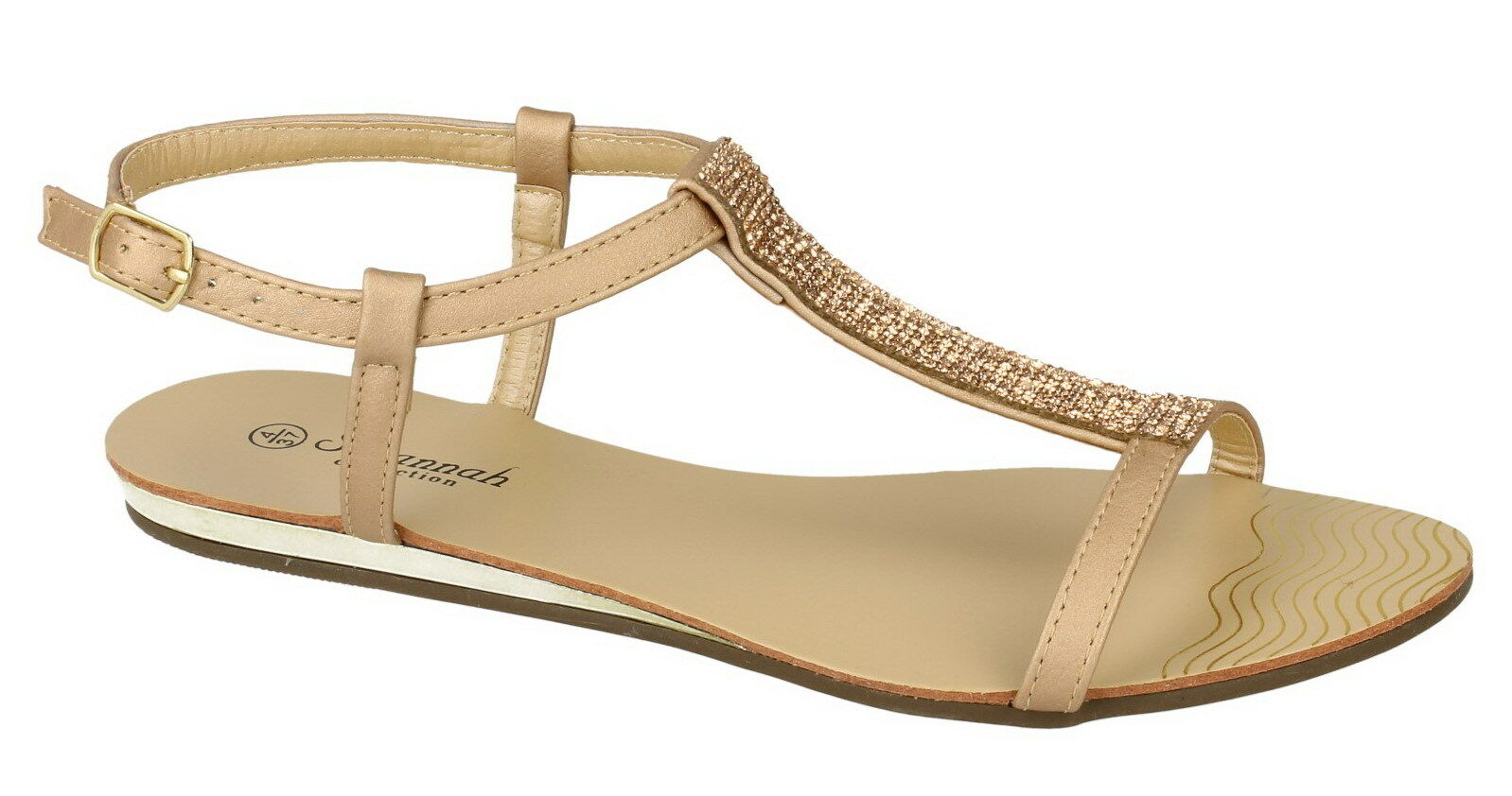 SALE Savannah F0818 T-Bar Ladies Gold Synthetic Diamante Detail T-Bar F0818 Summe Sandals df4e5b