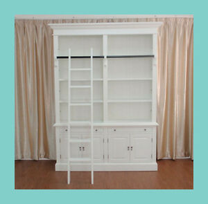 Pre-order-NEW-French-Provincial-Hamptons-Style-2-Bay-Bookcase-Cabinet-Ladder