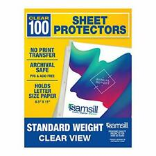 Samsill 100 Clear Standard Weight Sheet Protectors Reinforced 3 Hole Design Top