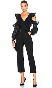 NWT SELF-PORTRAIT  Camo Lace Frill Shirt Size US 10