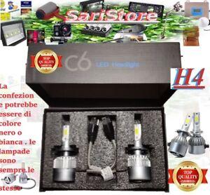 H4 LED 7600LM 72W  6000K BIANCO FREDDO COPPIA LAMPADA AUTO MOTO COB C6 12V 24V