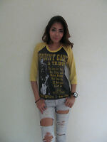 Johnny Cash A TRIBUTE Tour Rock Punk Music T-Shirt Jersey Raglan Women's Gray S