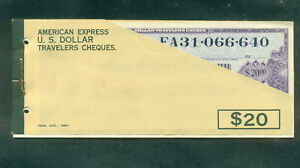 American Express 1969 US Dollars Unused Travelers Cheques Booklet of 10x$20