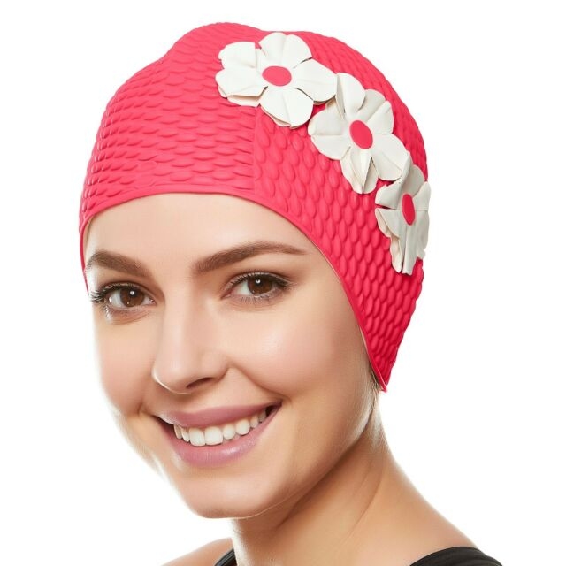 Beemo Swim Bathing Caps for Women   Girls - Pink With White Flowers ... d0c7ad476cd3