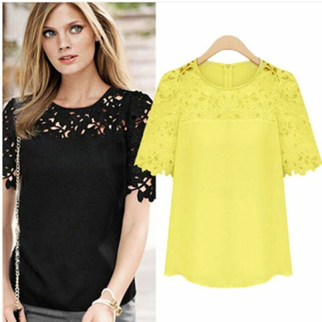 Hot!Fashion Women Sheer Sleeve Embroidery Top Blouse Lace Crochet Chiffon Shirt