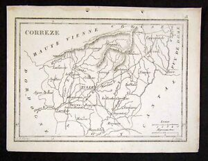 1833-Perrot-Tardieu-Map-Correze-Tulle-Brives-France-Miniature-Antique-Map