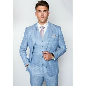 Details about Mens Cavani Light Blue Check Vintage Tailored Fit Wedding  Party 3 Piece Suit