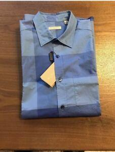 New-Auth-Burberry-Nova-Check-Plaid-Blue-Men-Shirt-Big-Squares-S-Or-M-or-XL