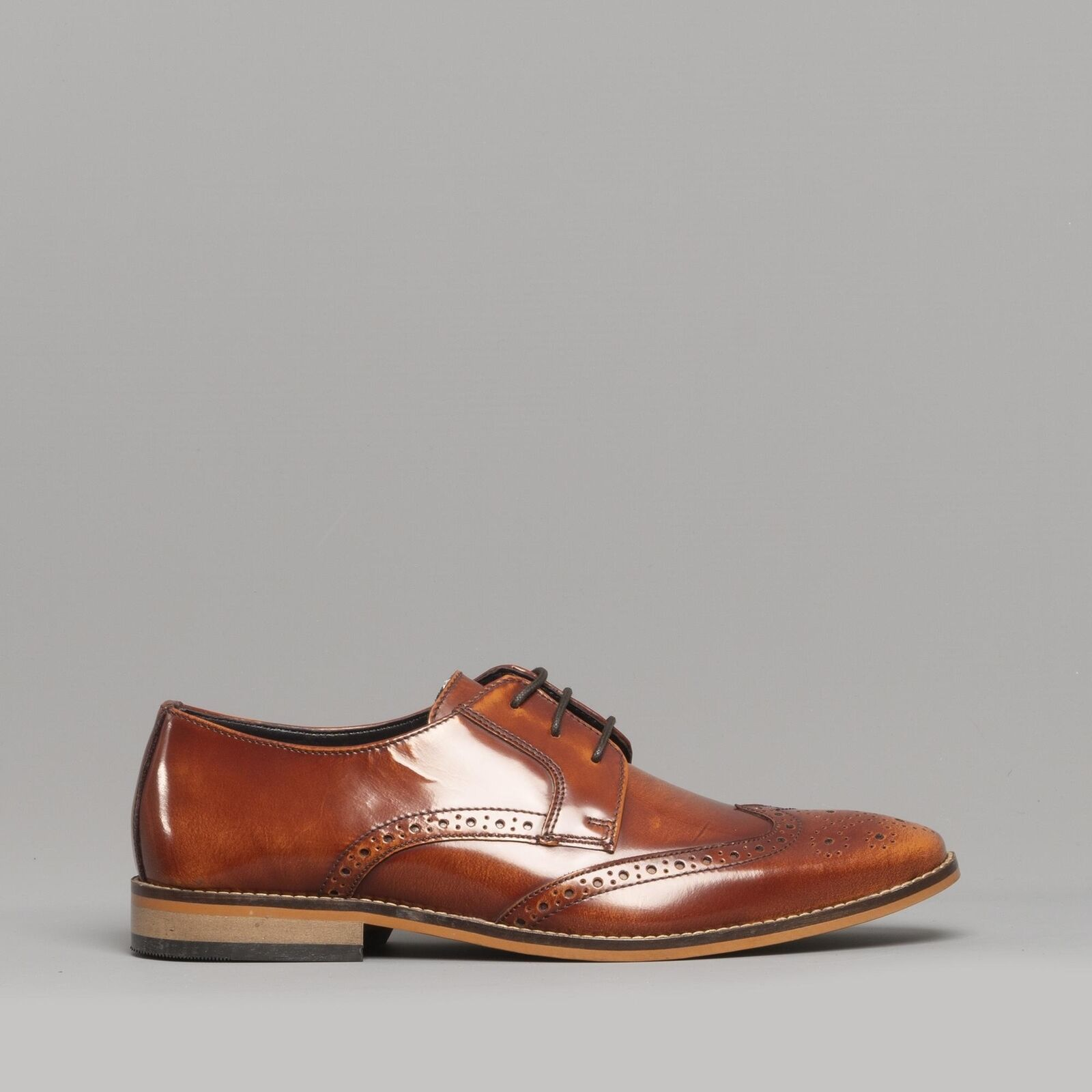 Ikon RAMSAY Mens Leather Brogue Burnished Formal Evening Smart Dress schuhe Tan