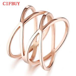CIFBUY-Unique-Shaped-Woman-Bands-Klassische-Rose-Gold-Farbe-Ringe-Modeschmuck