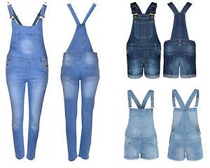 Kinder Mädchen Denim Jeans Latzhose Kurz & Lang Zerrissen Overall Hosenkleid