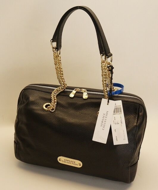 Versace LBFS333 Pebble Leather Shoulder Bag - NERO Chiaro 2691829410513