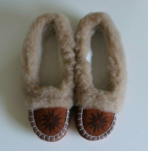 Ladies Sheepskin Wool Linen Slippers Moccasins Handmade Brown Size UK 3