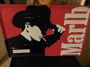 Vintage 1997 Tin Sign Philip Morris Marlboro Man Cowboy Black & White & Red