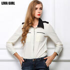 Women Hit color Slim Chiffon Blouse Long sleeve Lapel Tops Down Shirt T-Shirt OL