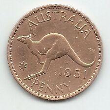 "AUSTRALIA - ""KANGAROO"" ONE PENNY 1951 COPPER COIN UNC km#43 - 30mm Dia RARE"