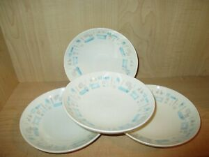 Set-of-4-Vintage-Royal-China-Blue-Heaven-Soup-Bowls-Atomic