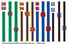 Race Car Stripes and Numbers 1/64th HO Scale Slot Car Waterslide Decals