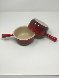 Set-of-2-Le-Creuset-16Oz-Red-French-Onion-Soup-Bowls-Stoneware-Dinnerware