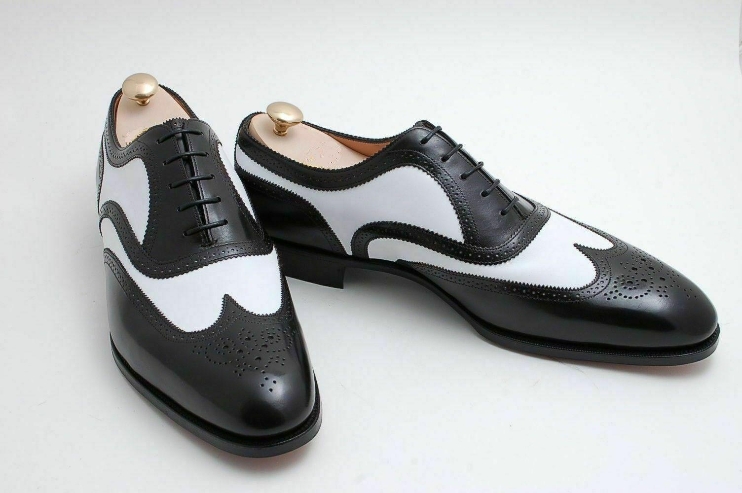 Handgemachte echte schwarze & weiße Leder Oxford Brogue Wingtip Schnürschuhe
