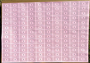 Monopoly Money, Original Uncut Sheet, $5 Bills, Parker Brothers