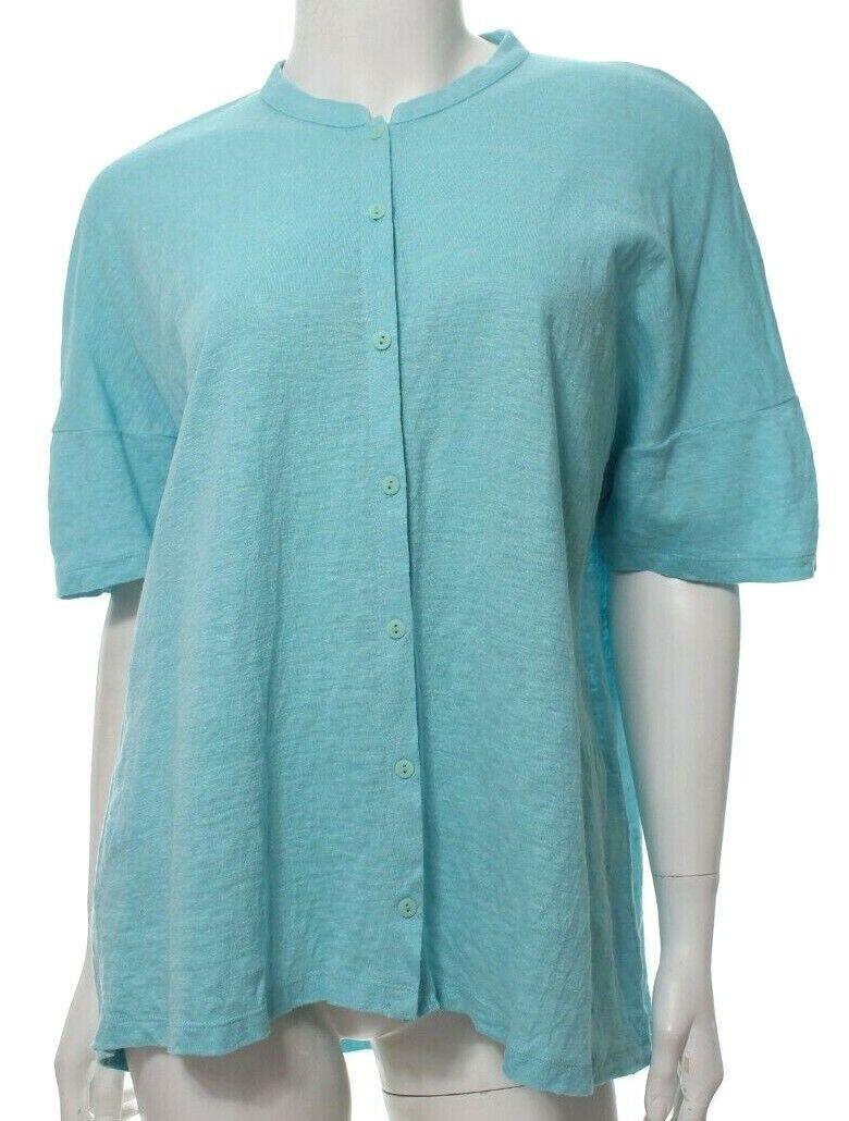 Eileen Fisher Women's M Medium Blue Top Shirt Organic Linen Boxy Casual SS EUC