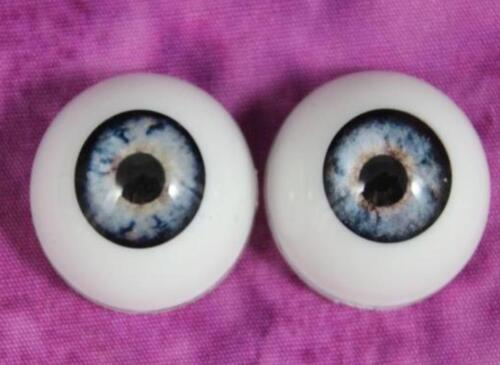 ONE PAIR 20mm  Pabol BlueReborn Doll Eyes  Half Round  Acrylic FAST  SHIPPING!
