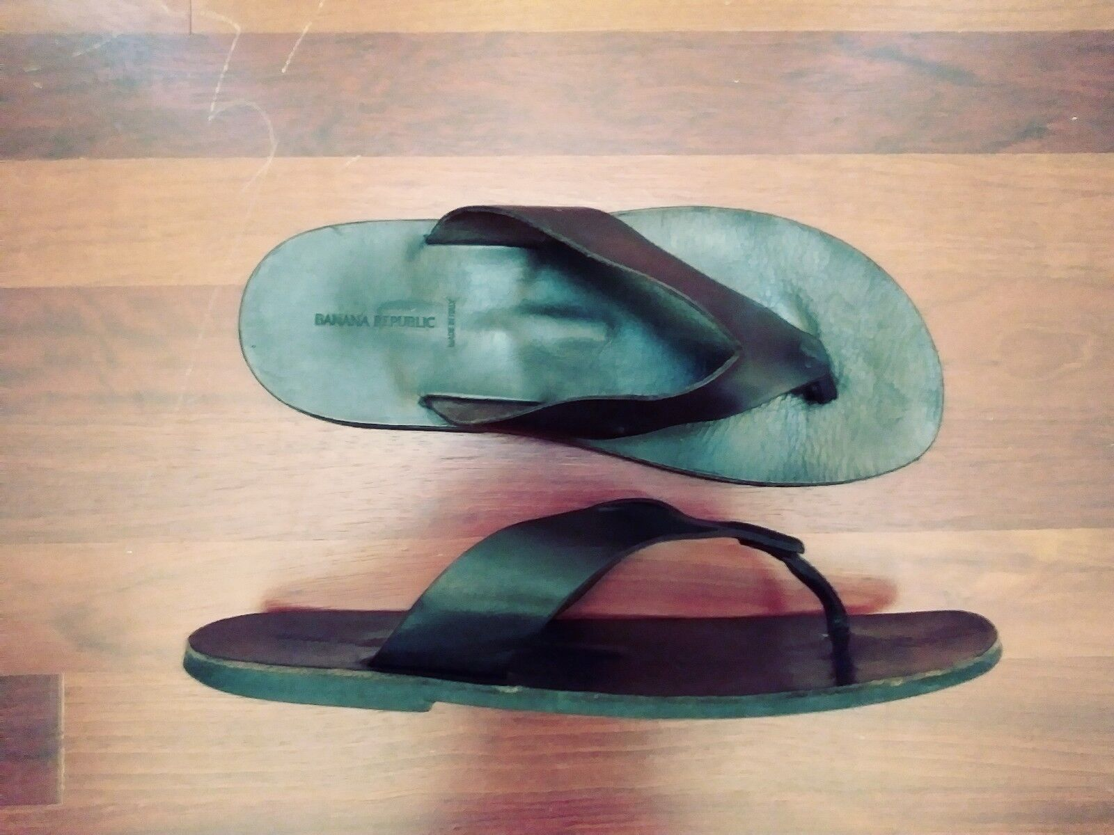 BANANA Republic Men BROWN 100% Leather Flip Flop Sandals Thongs Made in  12