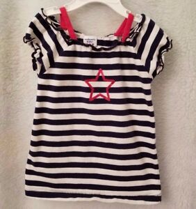 Authentic-Kids-Girls-Blue-White-Red-Striped-Star-Shirt-Top-Blouse-Size-3T-OR-4T