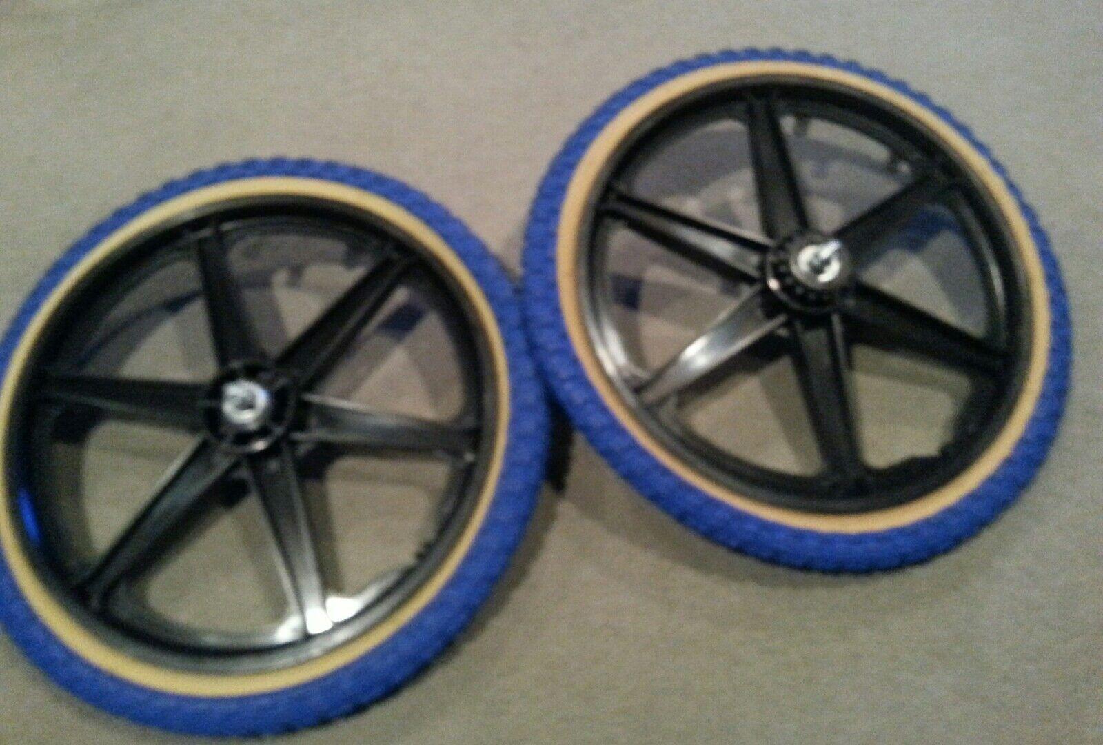 Nuevo 20  MAG Ruedas de 6 radios azulgum Neumáticos & Tubos Gt Dyno Haro Bmx Bicicletas