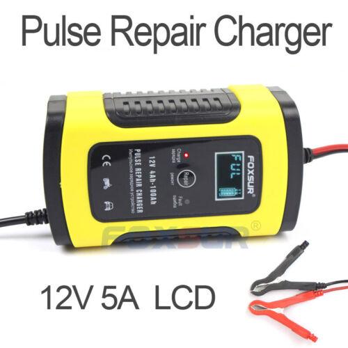 FOXSUR LCD 12V Motorcycle Car AGM GEL WET Lead Acid Pulse Repair Battery Charger