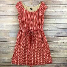 Theory Womens Dress Red Beige Polka Dot Cotton Drawstring Lined Vivalla K1 Sz L