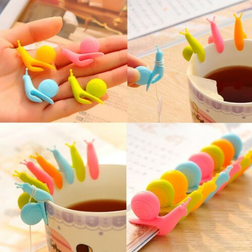 6Pcs Silicone Bag Tea Hanging Label Cup Glass Clip Holder Filter Tool Filters