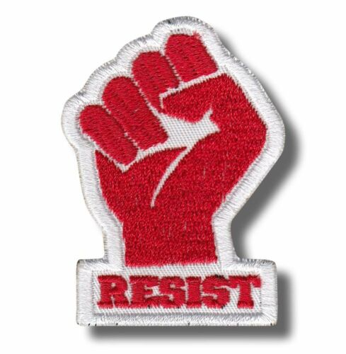 embroidered patch resist red//white 2,4 X 1,6 INCH BUY ANY 3 GET 4 Fist