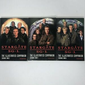 STARGATE-ATLANTIS-SG-1The-Illustrated-Companion-Seasons-1-2-3-4-5-6-Lot-of-3-VG