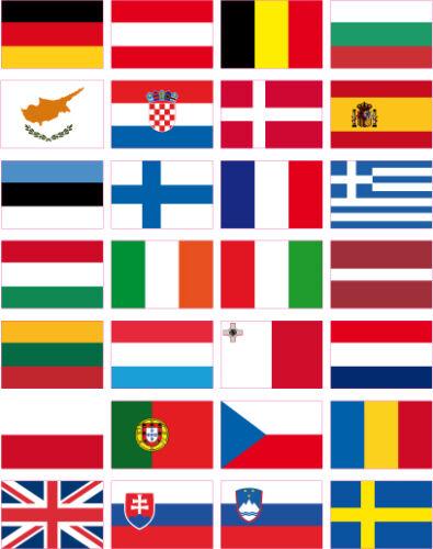 28 pays autocollants en vinyle TOUS LES DRAPEAUX EUROPE 35x25 mm (1x1.5)