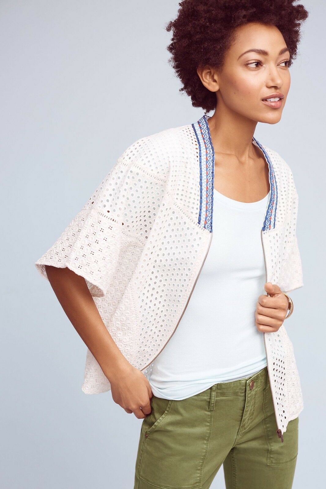 158 Anthropologie Nora Eyelet Cape By Conditions Apply size S  white SMALL