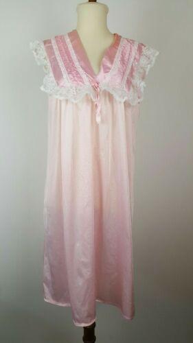 Vintage Nightgown M Bubblegum Pink Nylon frills la