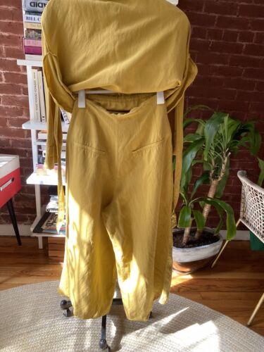 Zara Linen Mustard Yellow Pants Suit Small Size
