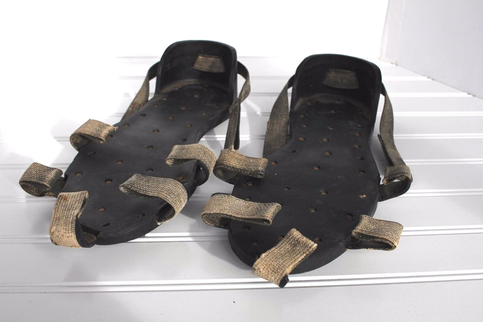 Antique Vintage Korkers Rubber Ice Walking Metal Spike shoes Soles 11  USA