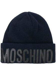 0d37cbe3ba Image is loading Moschino-Hat-Logo-Knitted-Mens-Ladies-Black-Cuffed-