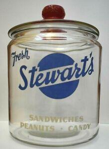 Antique-Vintage-Stewart-s-Fresh-Sandwiches-Peanuts-Candy-Glass-Store-Display-Jar