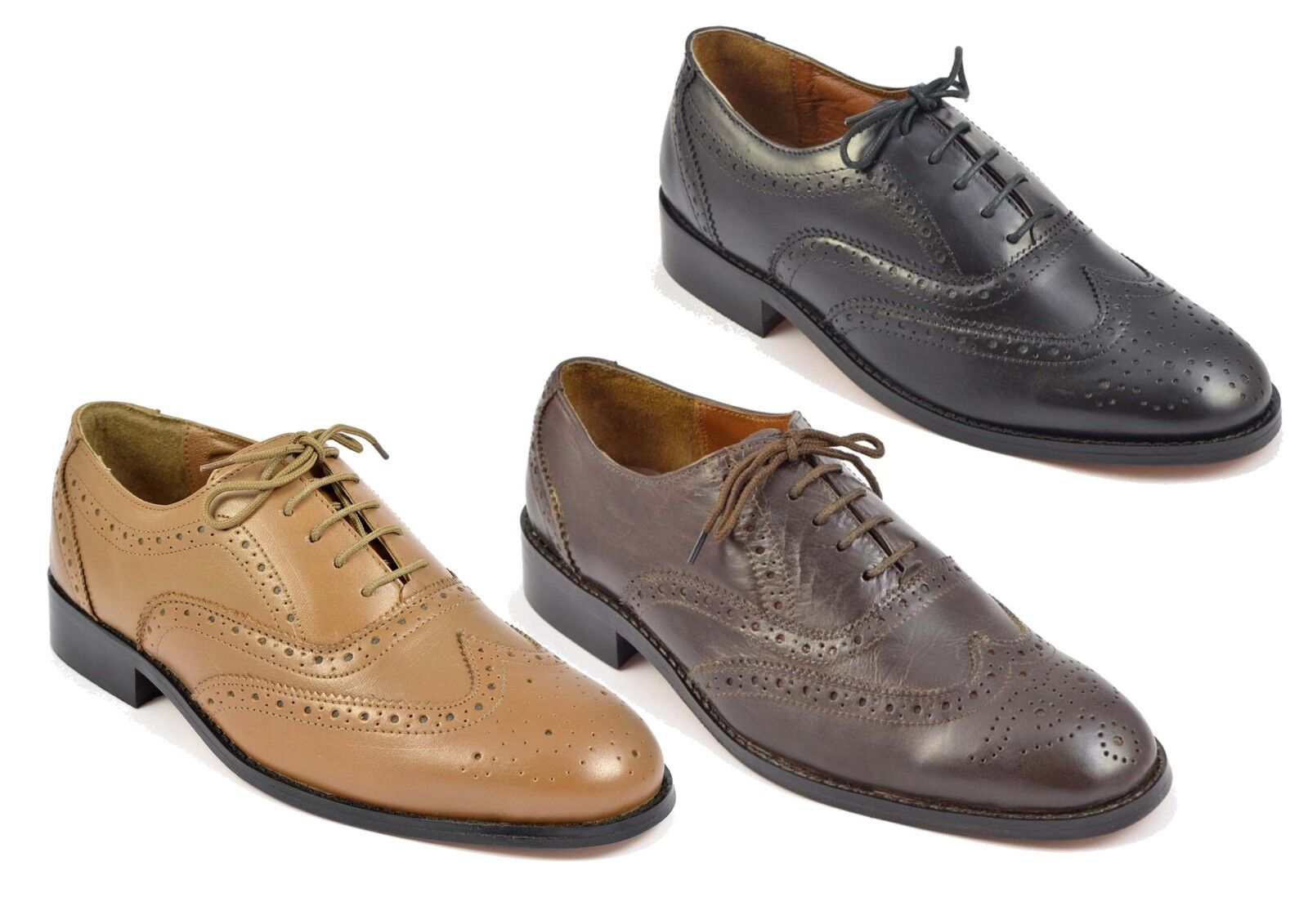 Mens Full Brogue shoes Leather Sole Lace Up Black shoes Tan Oxford Derby Sizes