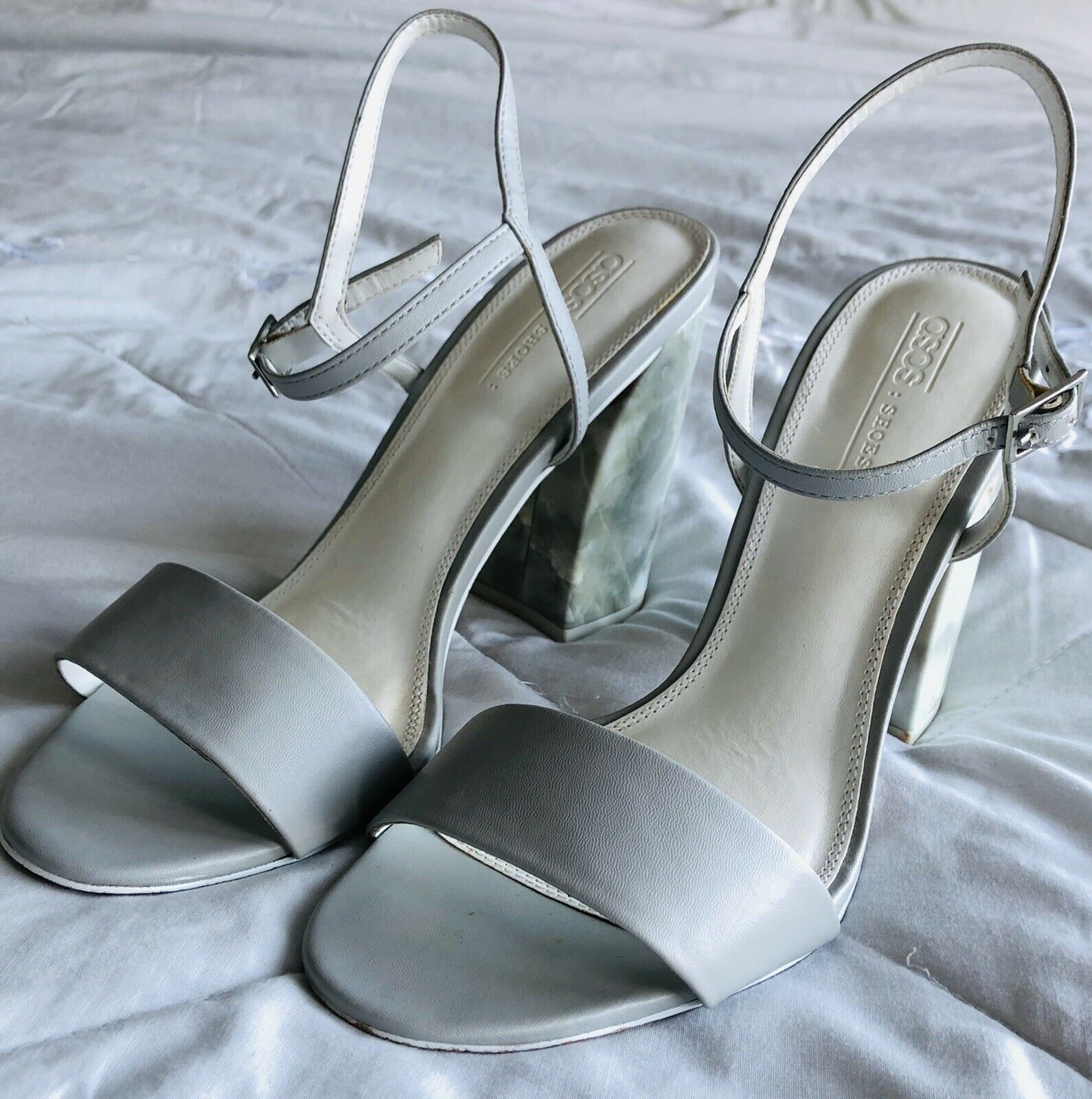 Grey Strappy Marble Effect Block Heal ASOS Sandal Size 7