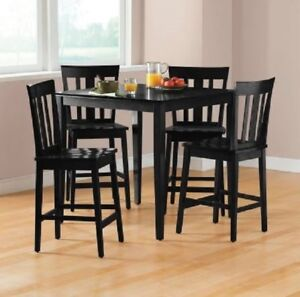 Image Is Loading Counter Height Dining Set 5 Pc Black Traditional