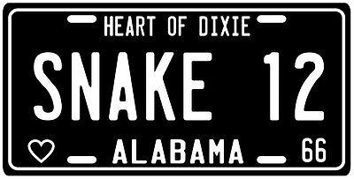 """Kenny """"Snake"""" Stabler 1966 Alabama License Plate"""