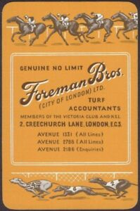 Playing-Cards-1-Single-Card-Old-FOREMAN-BROS-Turf-Accountant-Advertising-HORSES